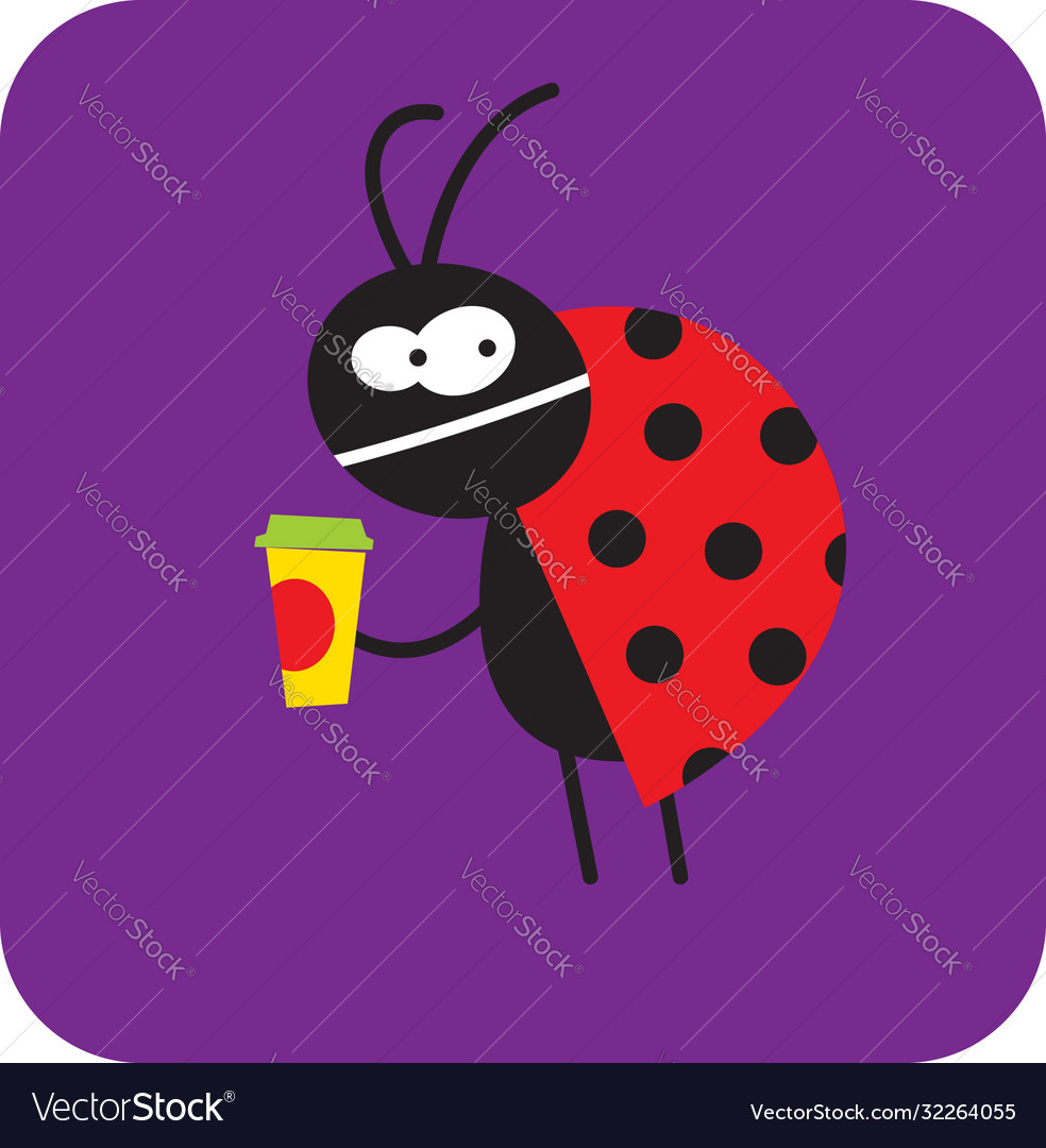 Dissatisfied beetle with a cup coffee