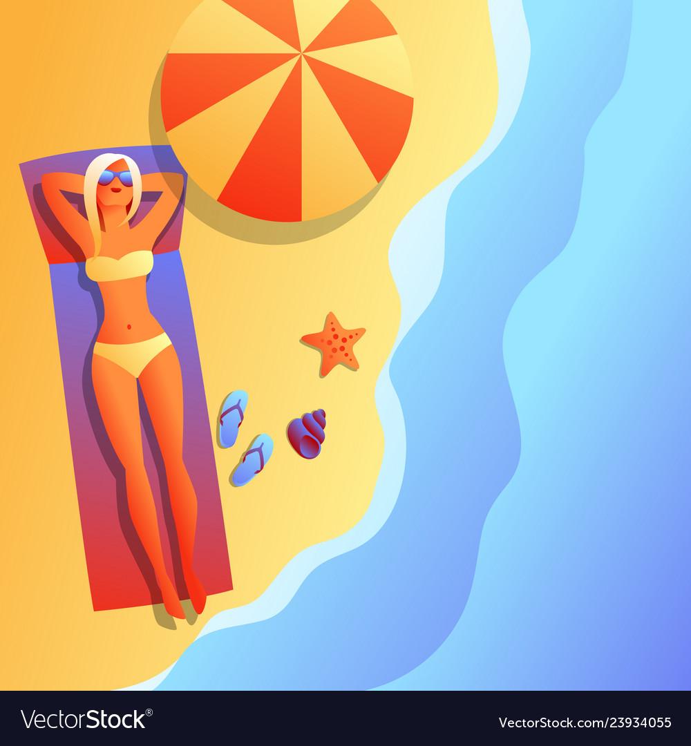 Girl in bikini sunbath and relax