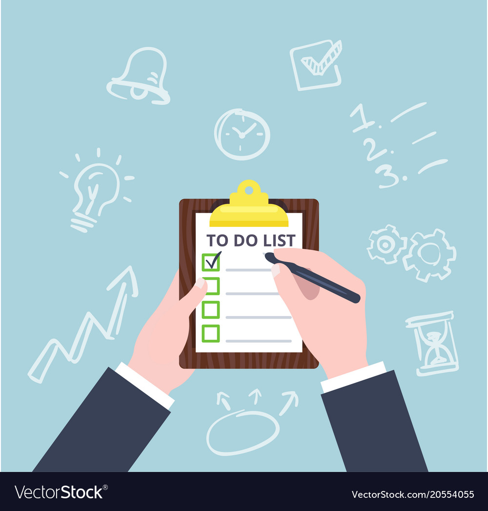 Hand check the checklist business concept in flat