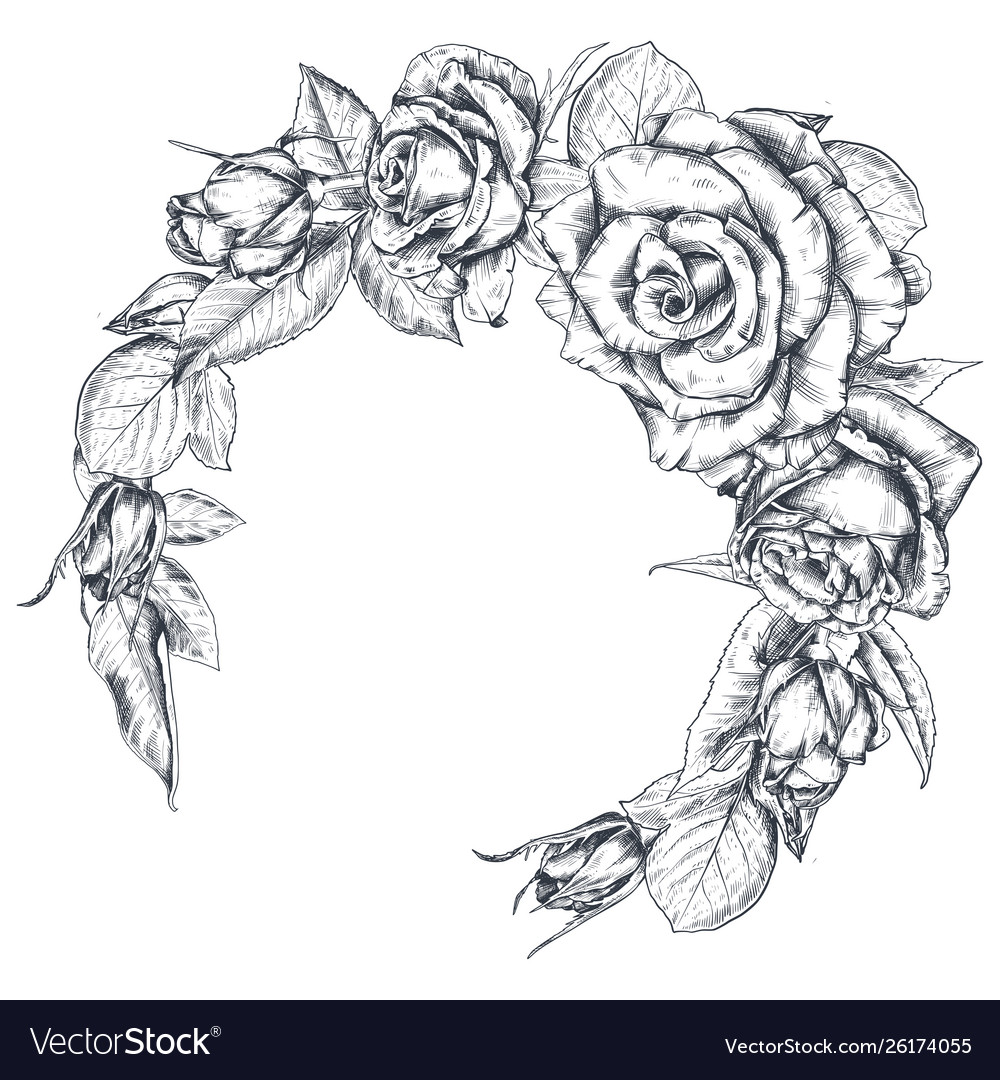 Hand drawn rose flowers wreath isolated on white