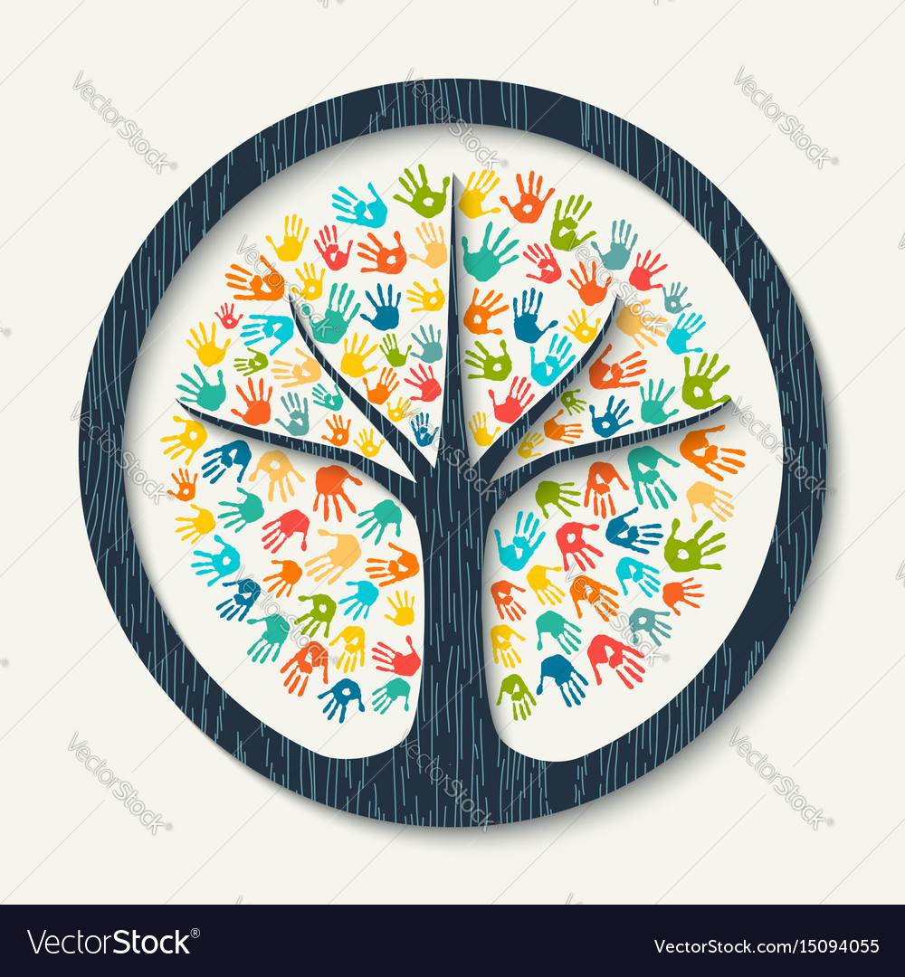 Hand print tree of diverse community team help