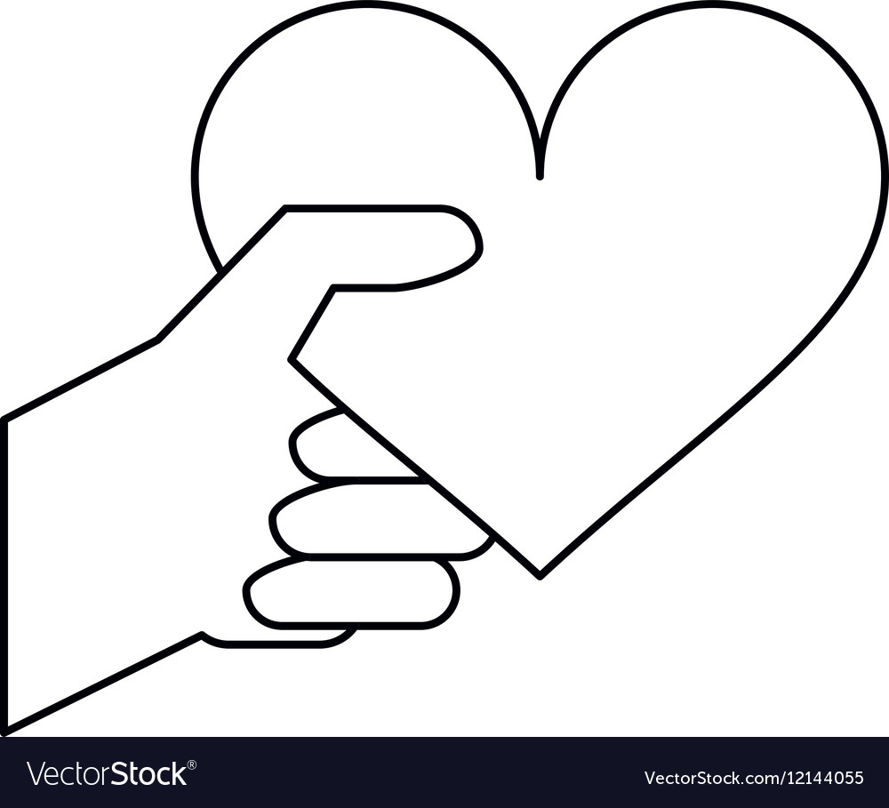 Hand with heart romantic valentines day outline