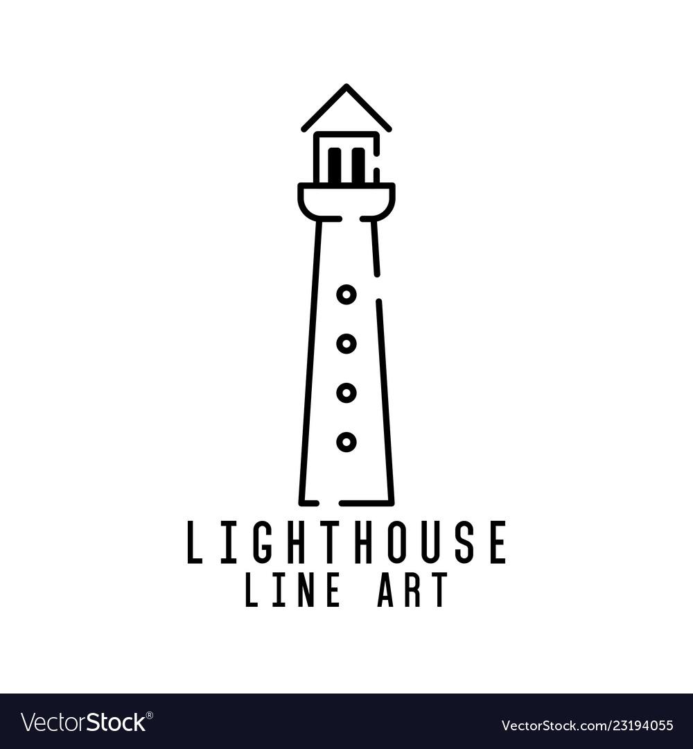 Lighthouse line art logo design inspiration
