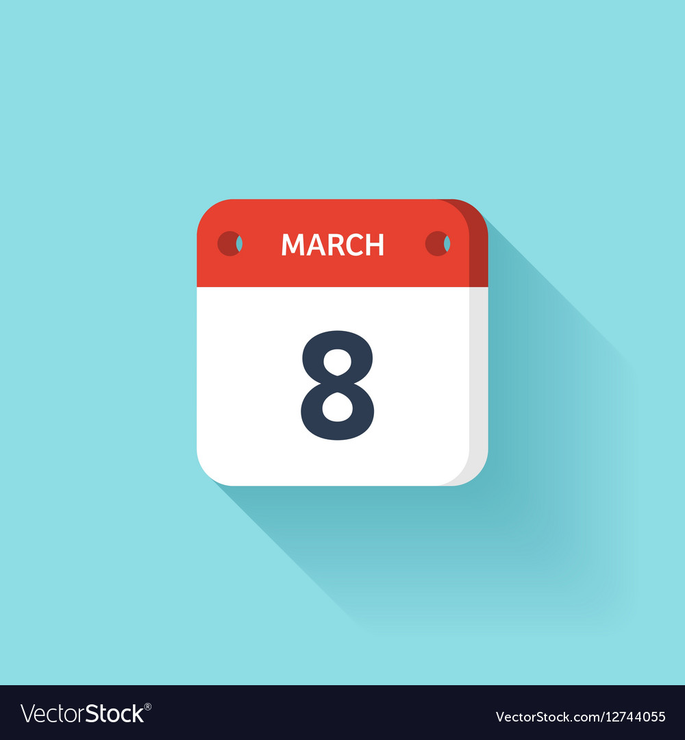 March 8 Isometric Calendar Icon With Shadow