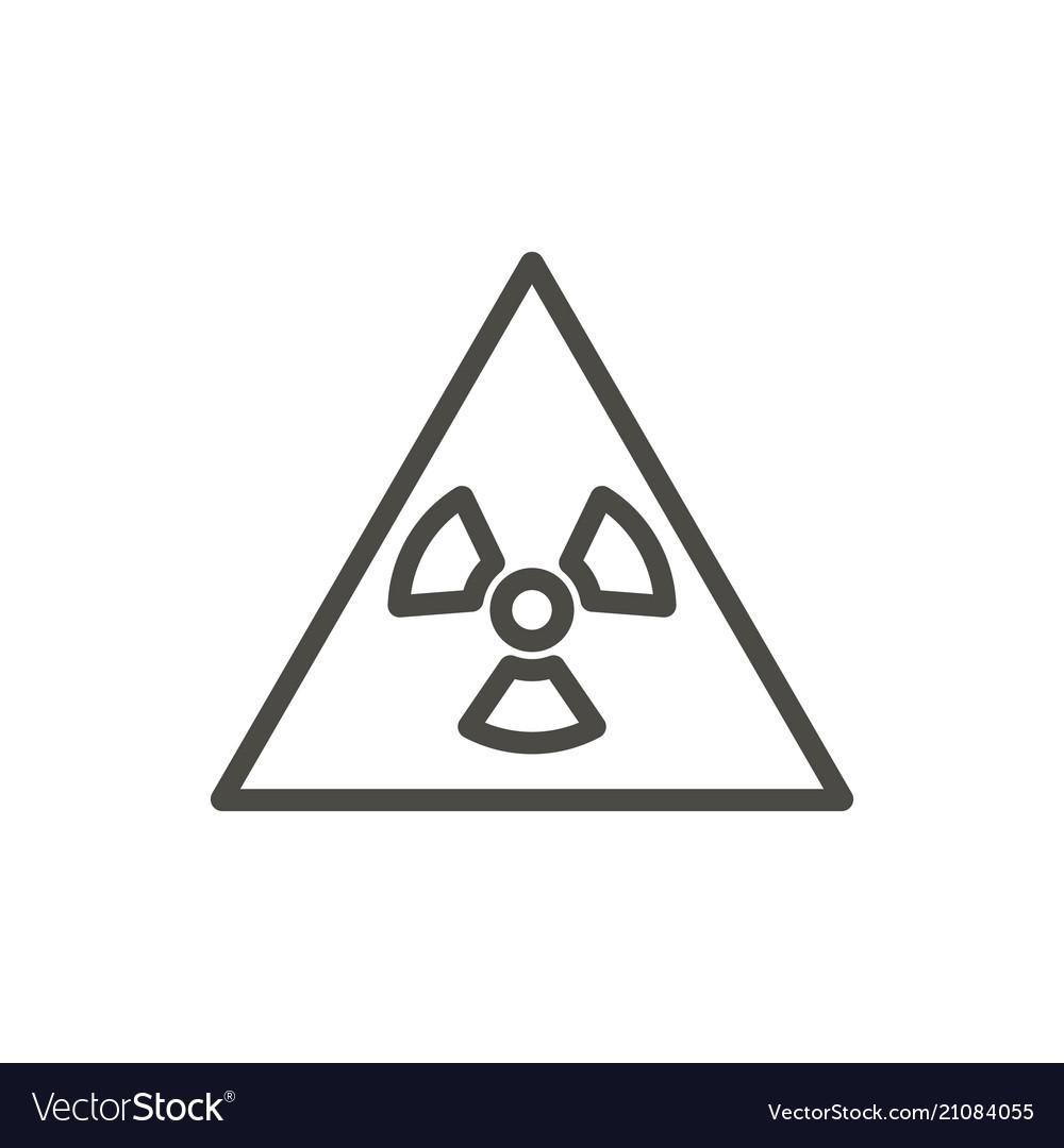 Radioactive warning icon line toxic symbol