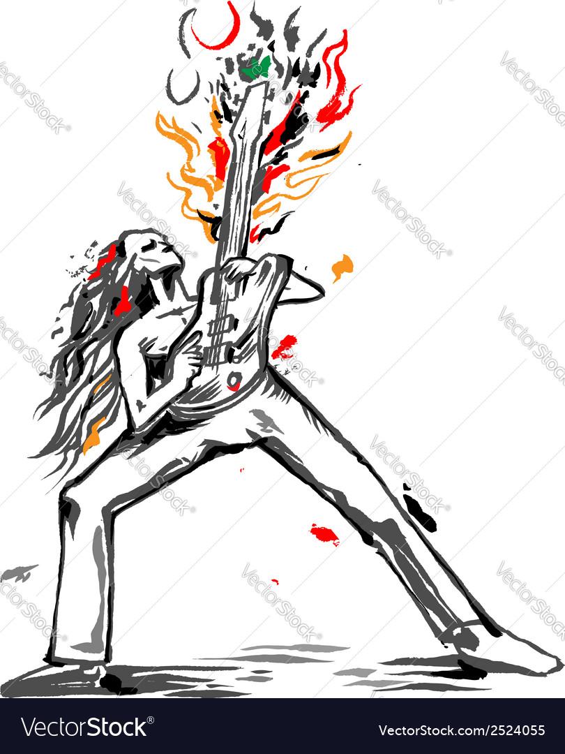 Rocker guitarist bass solo