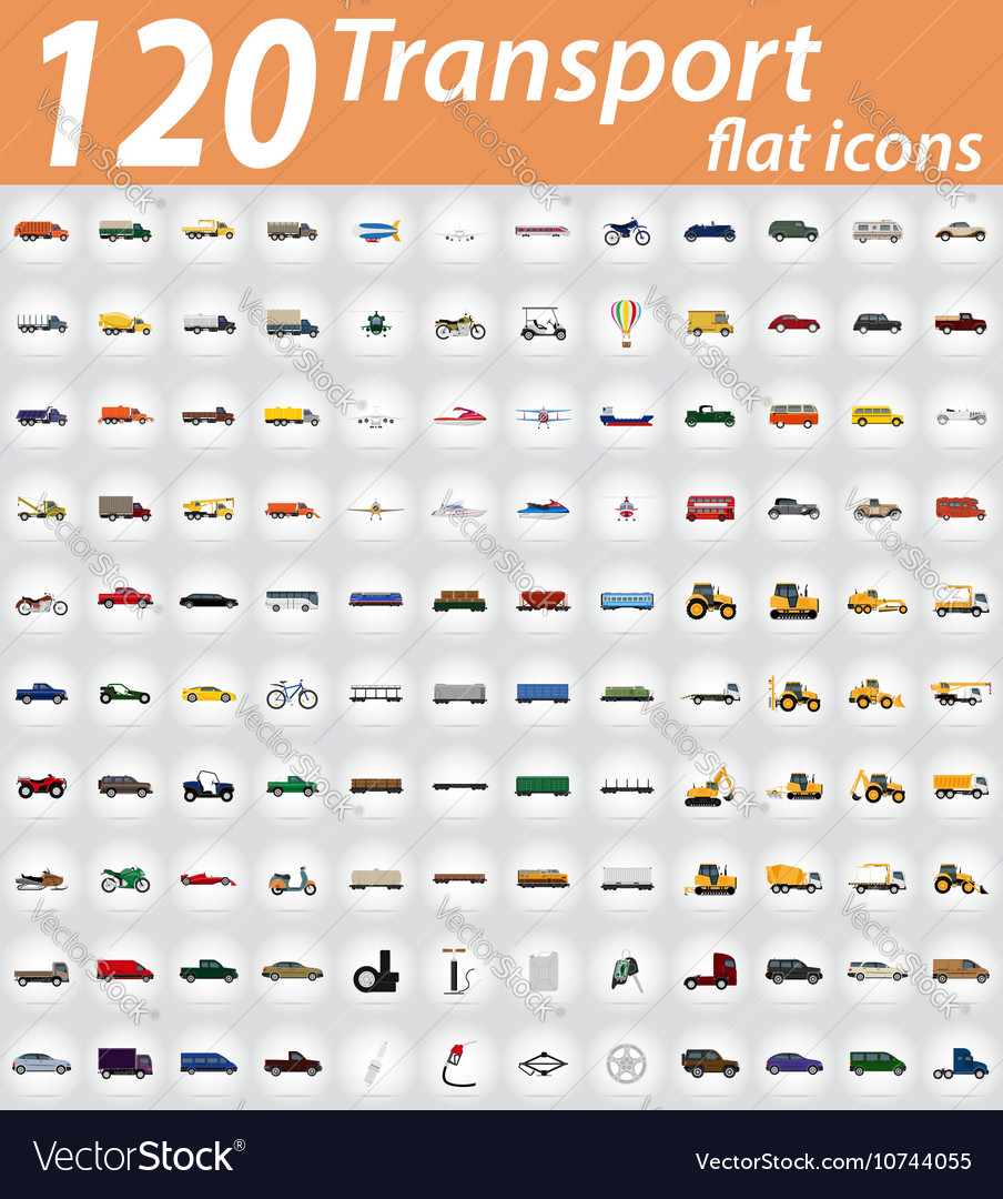 Set transport flat icons 01