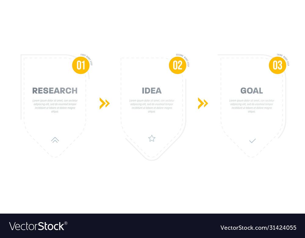 Three step timeline infographic step step