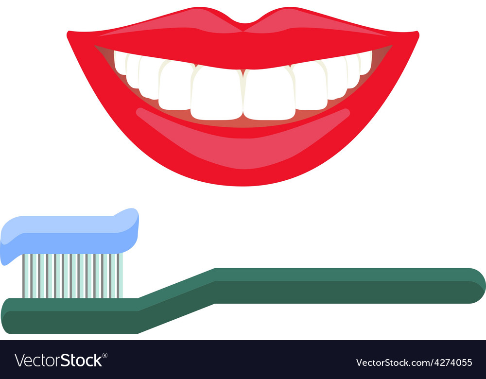 White teeth smile vector image