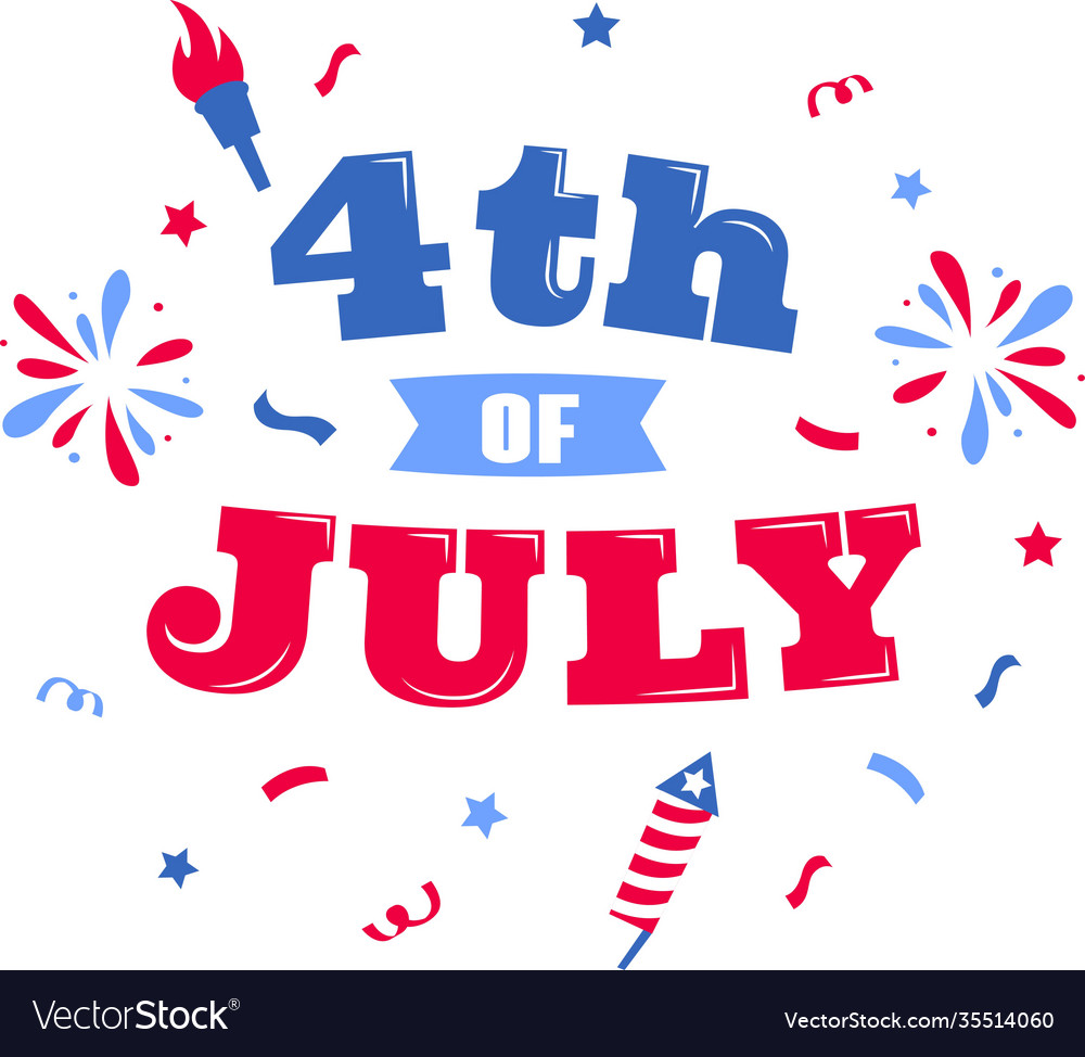 4th july on white background