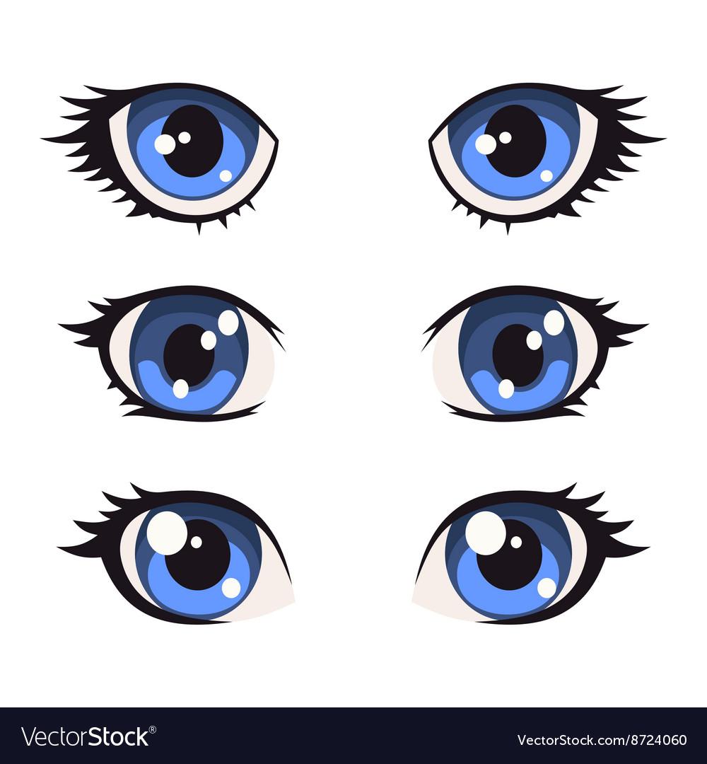 Blue Cartoon Anime Eyes Set Royalty Free Vector Image