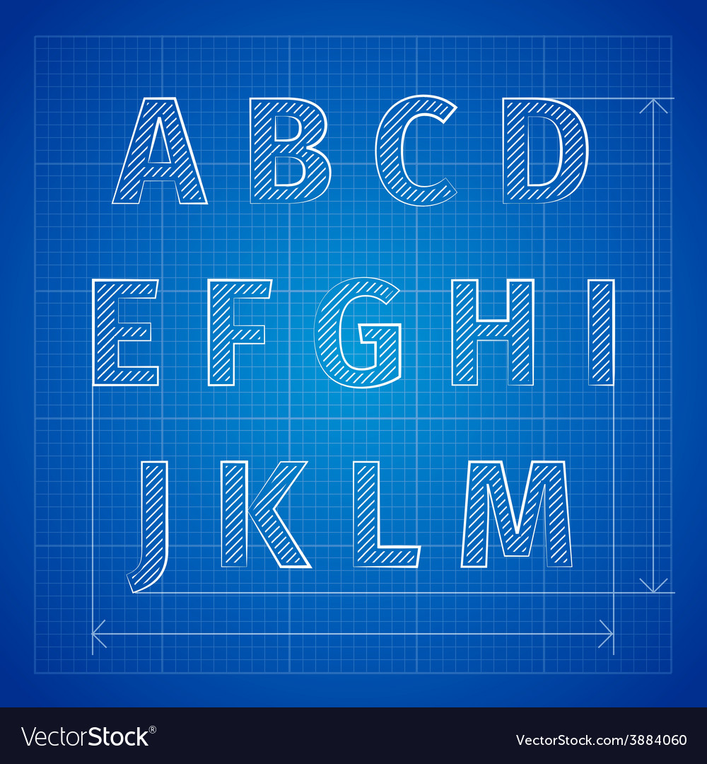 Blueprint font royalty free vector image vectorstock blueprint font vector image malvernweather Image collections