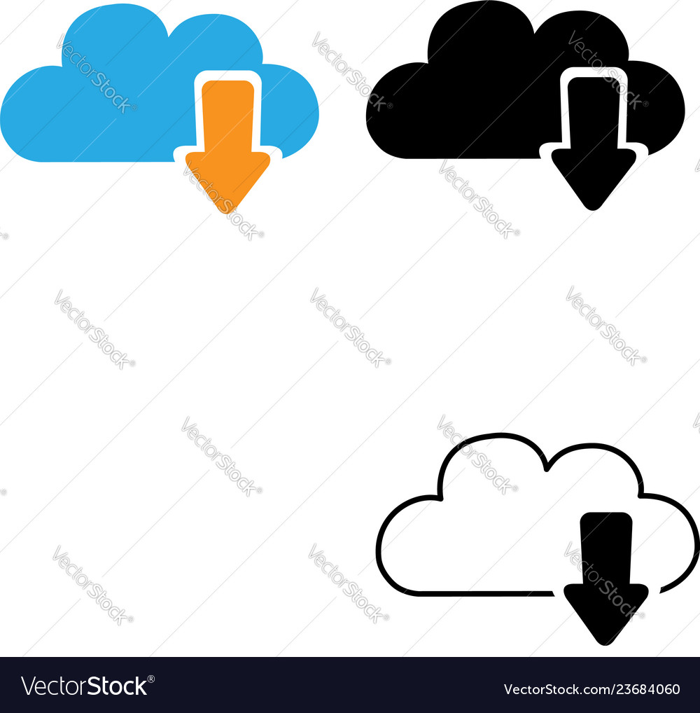 Cloud download icon isolated on white