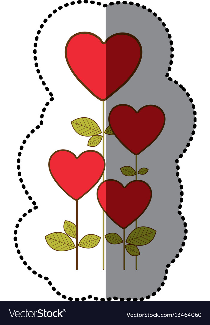 Color heart balloons trees icon