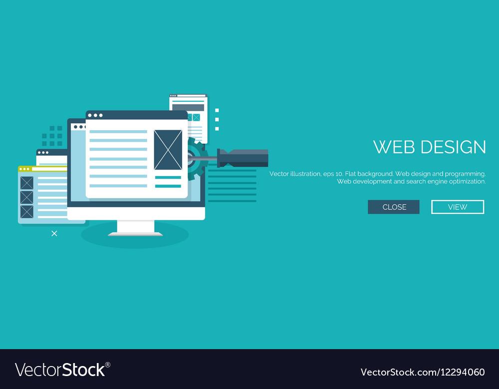 Flat background Coding vector image