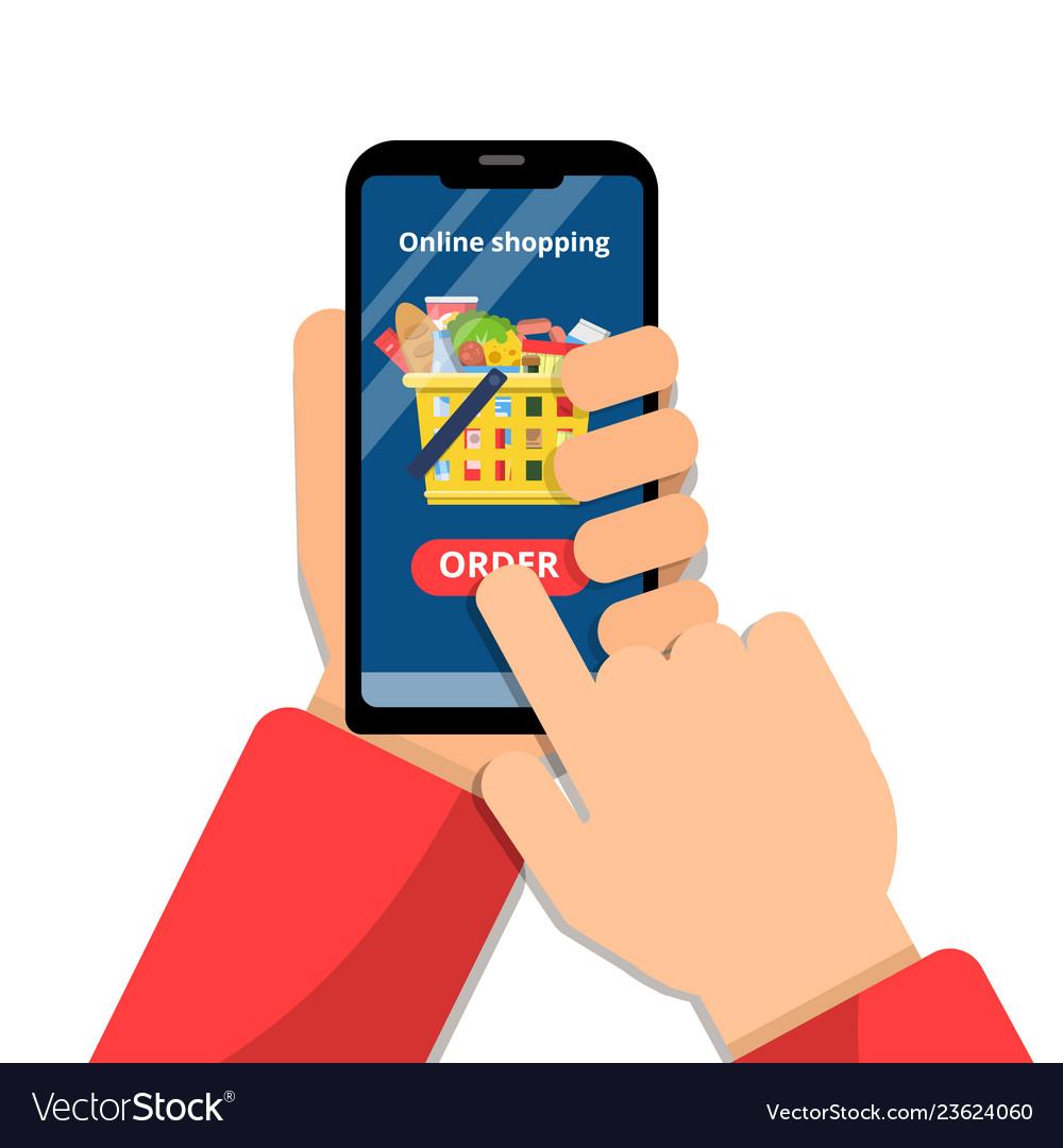 Grocery basket online hands holding smartphone