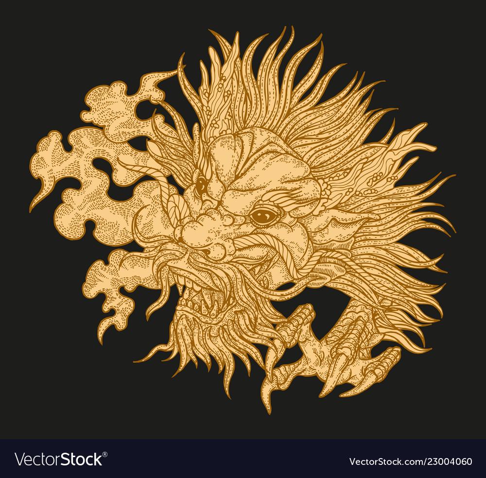 Hand drawn asian dragon head on black background