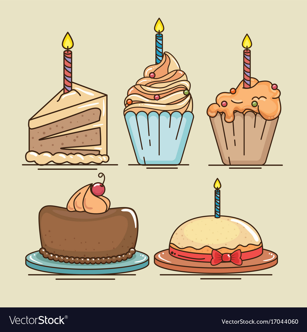 Happy Birthday Cake And Muffin Design Vector Image