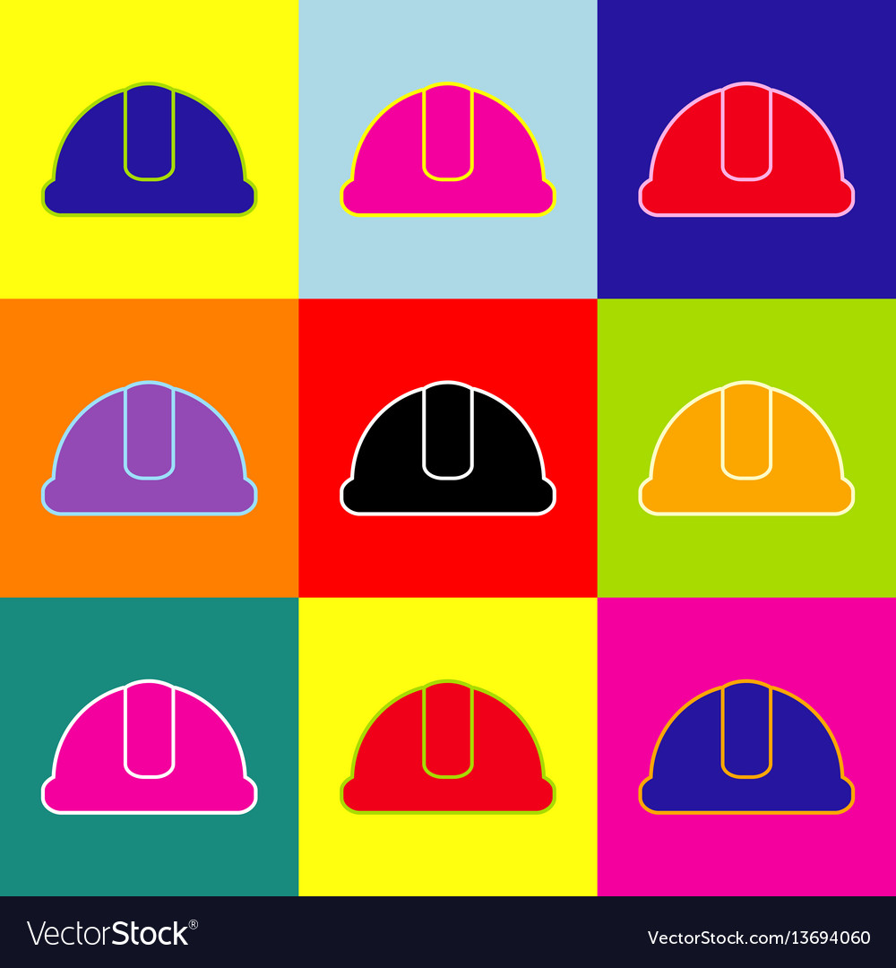 Hardhat sign pop-art style colorful icons