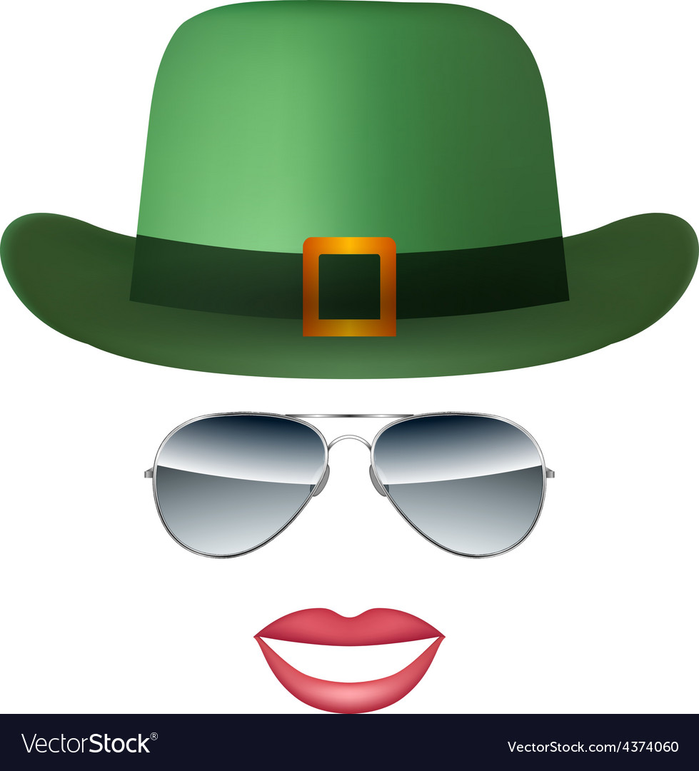 Hat Glasses and lips isolated on white background