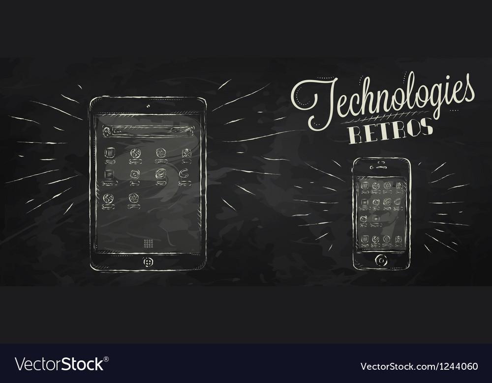 IPad iPhone chalk icons vector image