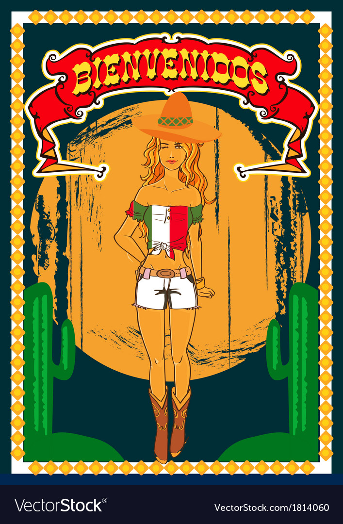 Mexican poster vector image