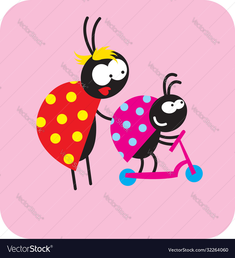 Mother beetle with her kid on a scooter