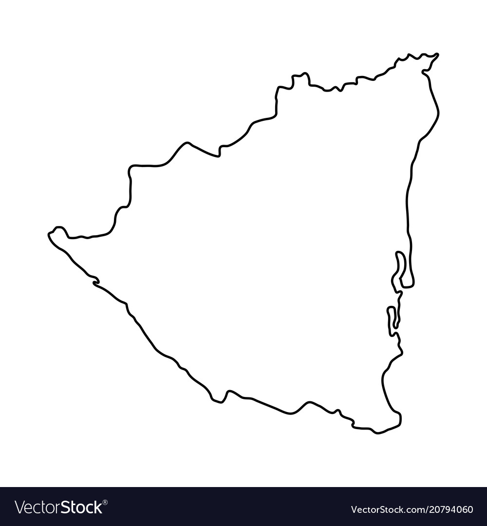 Nicaragua map of black contour curves on white