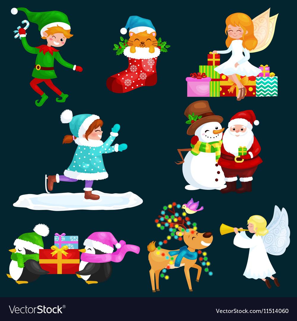 Santa Claus snowman hats children enjoy winter