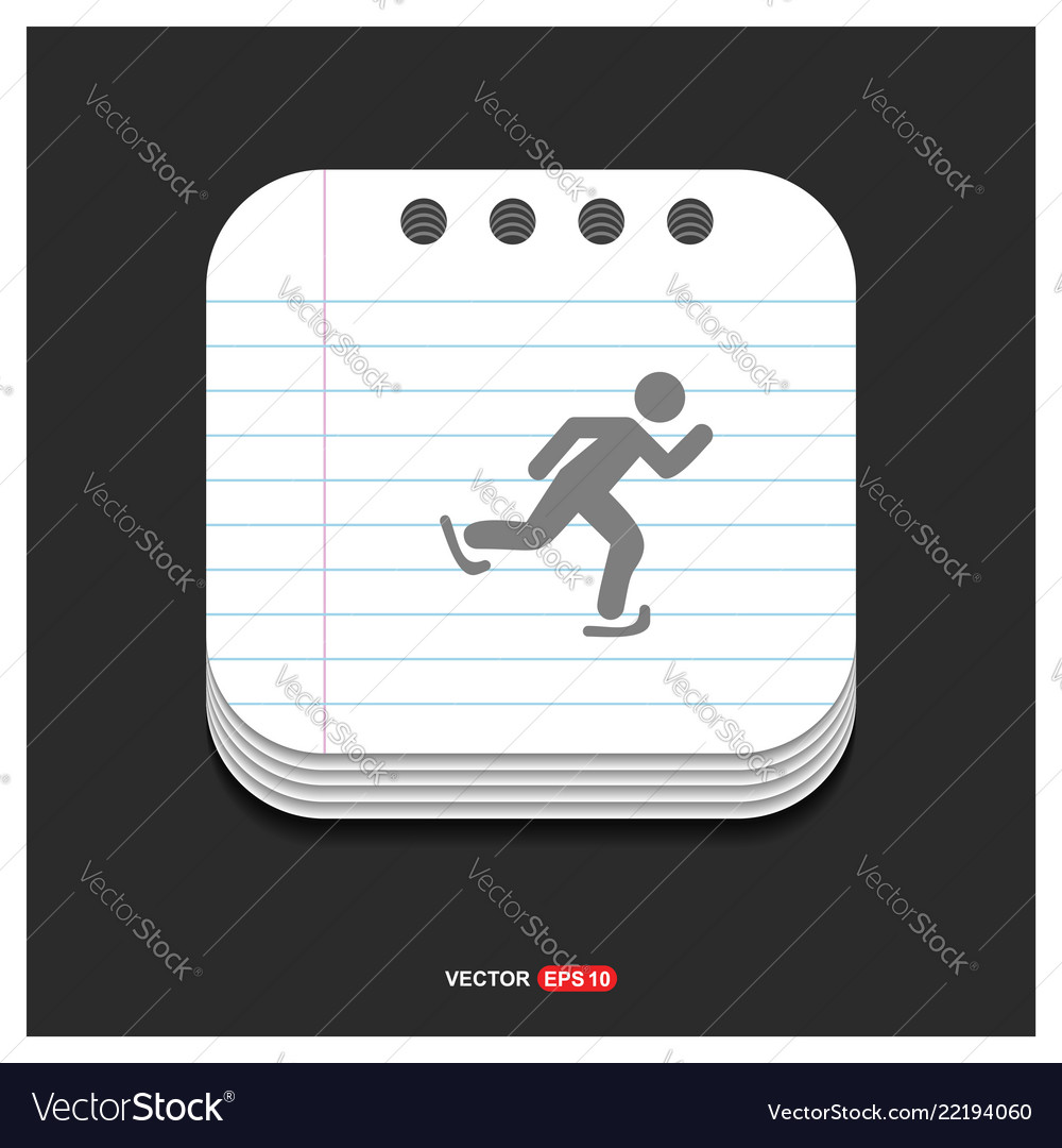 skating icon gray icon on notepad style template vector image