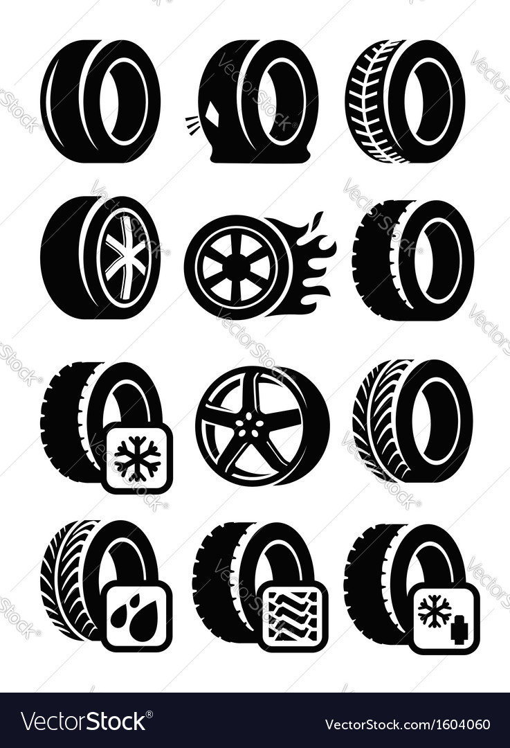 tyre icons royalty free vector image vectorstock