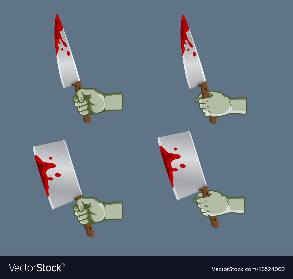 Zombie hand grab bleeding knife vector image
