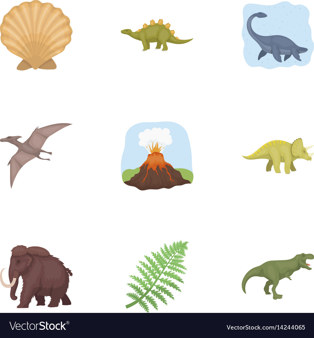 Image of: Prehistoric Creatures Vectorstock Ancient Extinct Animals And Their Tracks And Vector Image