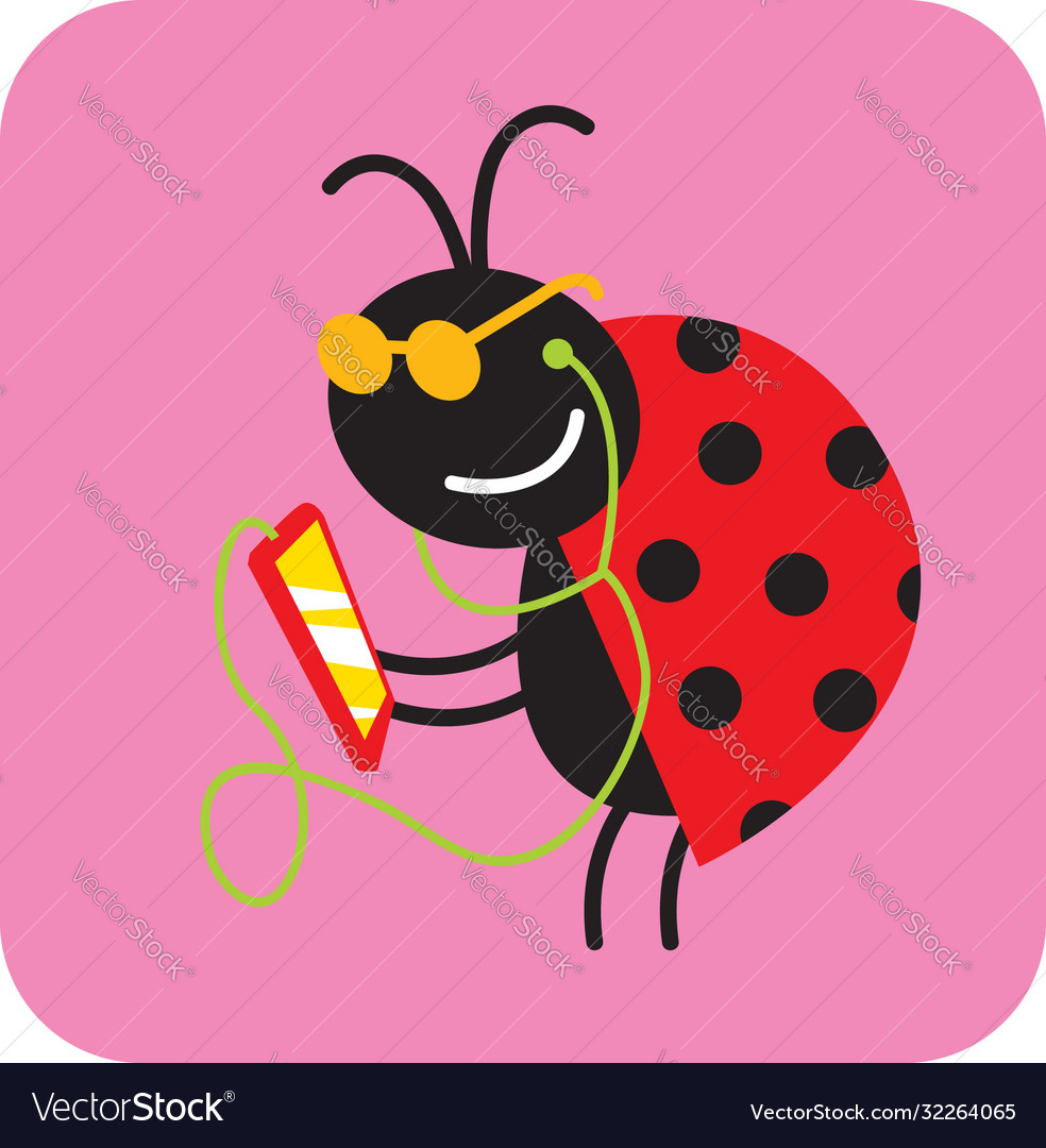 Cheerful beetle listens to music on a smartphone