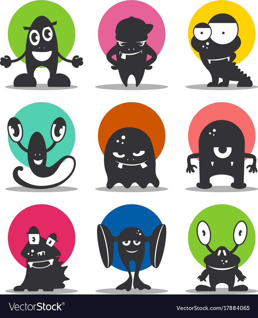 Cute cartoon avatars and icons black monsters set