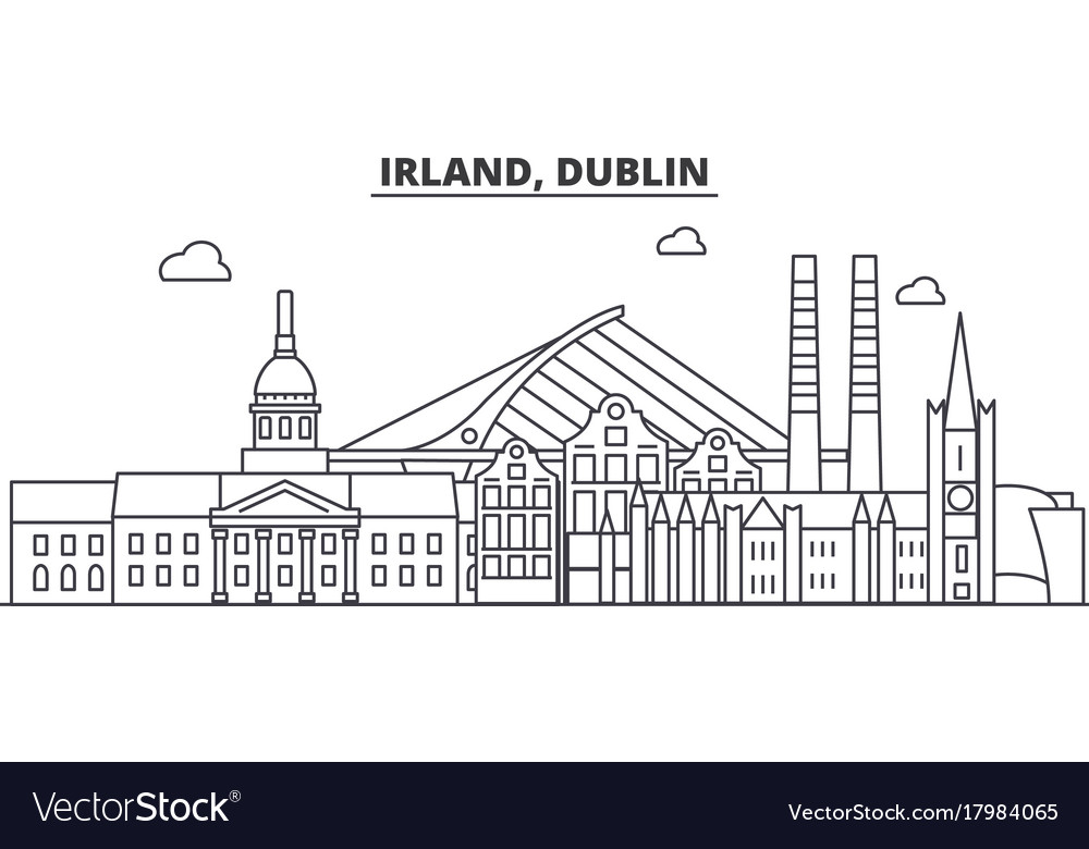 Irland dublin architecture line skyline vector image