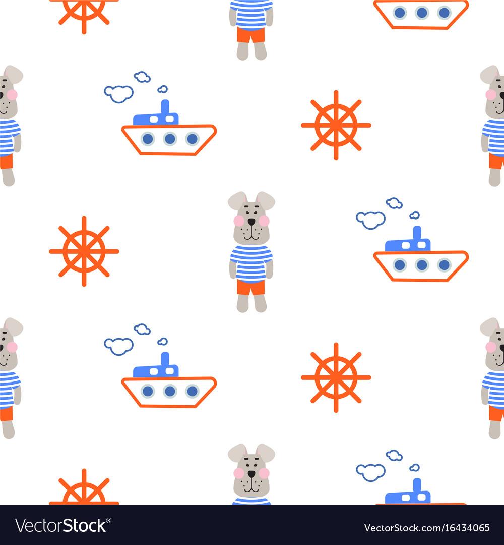 Marine boy pattern with sailor dog seamless vector image