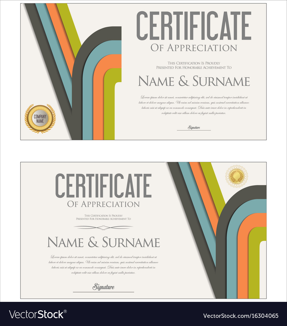 Modern colorful certificate or diploma template