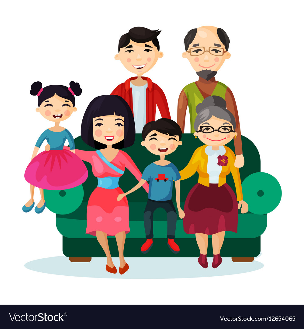 Portrait of fun smiling cartoon happy family