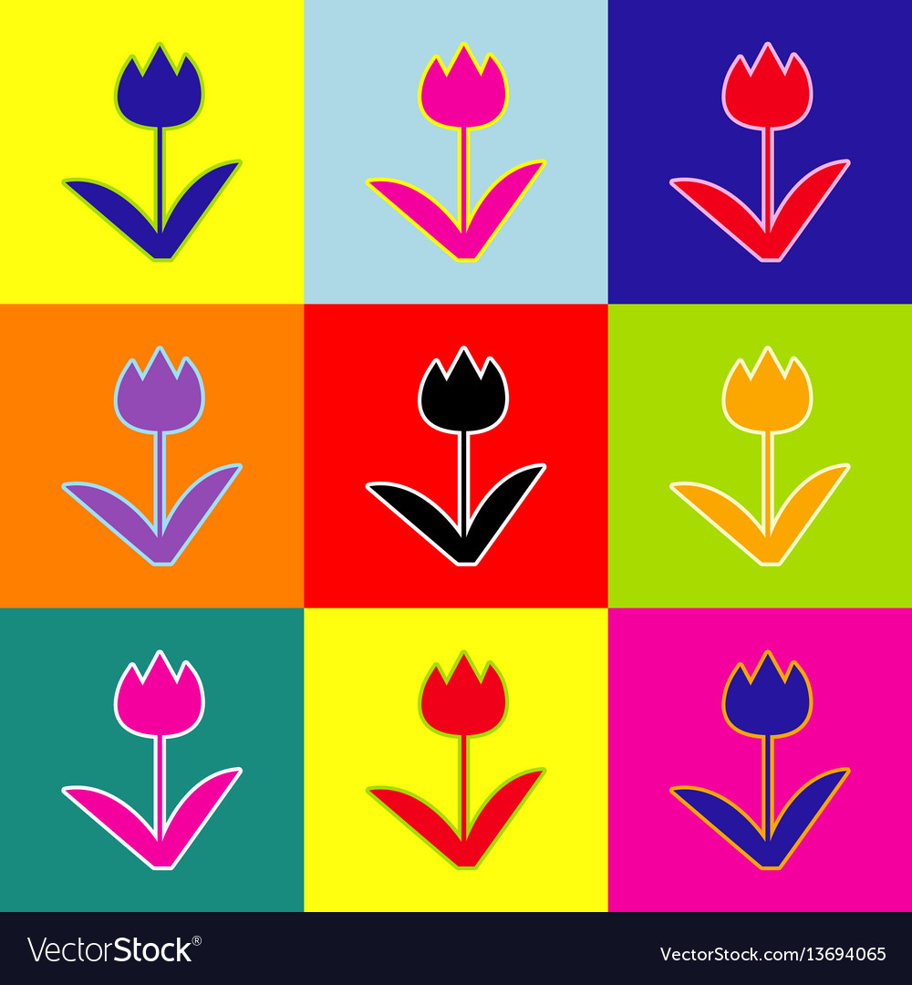 Tulip sign pop-art style colorful icons