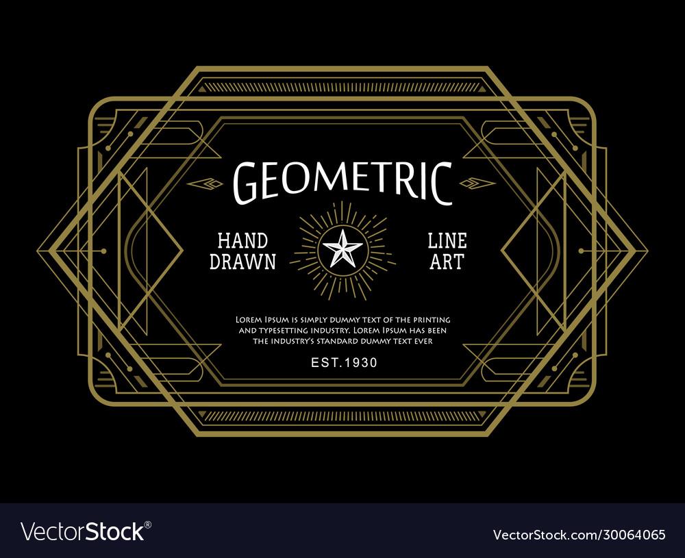 Vintage linear thin line geometric shape art deco