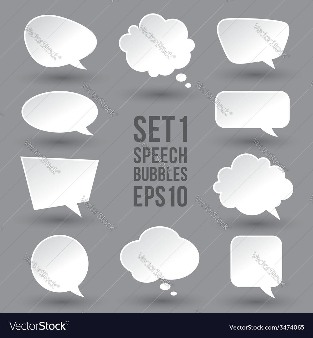 White speech bubbles set vector image