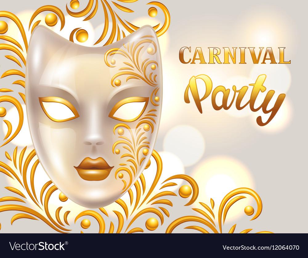 Carnival invitation card with venetian mask