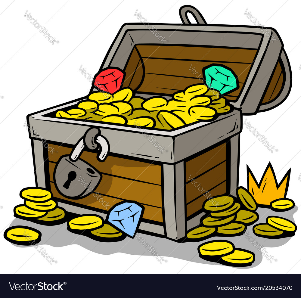 Cartoon open treasure chest with gold coins