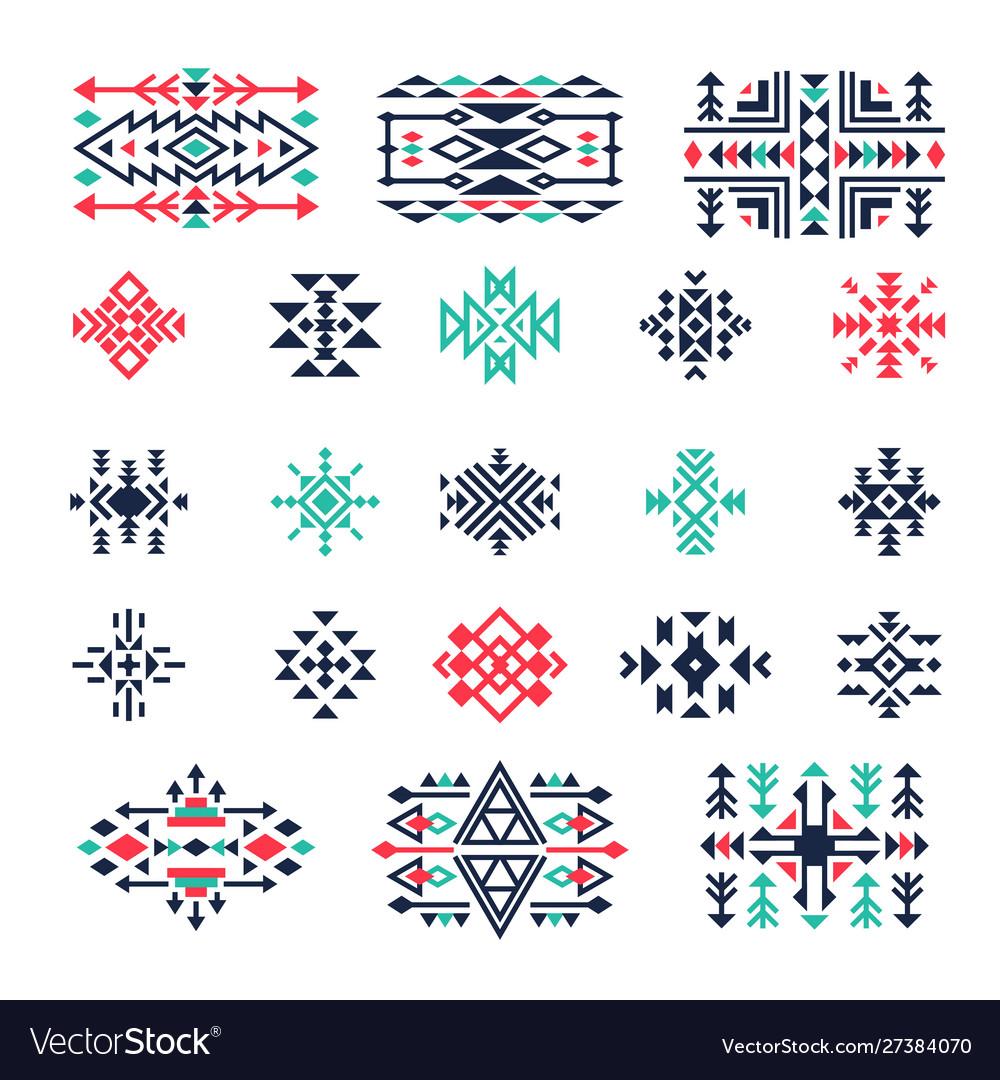 Ethnic geometrical symbols tribal mexican aztec
