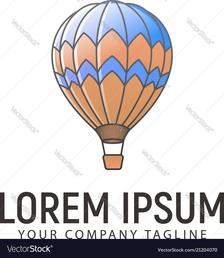 Hot air balloon logo design concept template