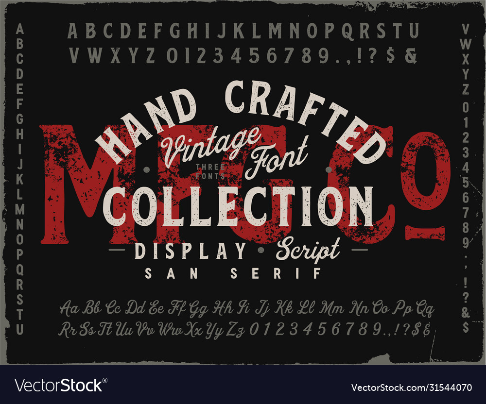 Mfg co hand drawn vintage font collection