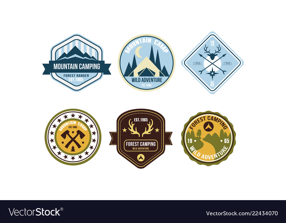 Mountain camping retro logo badges set forest