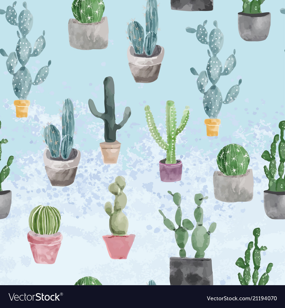 Pattern of cactus and succulents on light blue