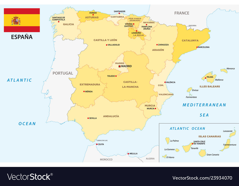 Map Of Spain Navarra.Spain Administrative And Political Map With Flag Vector Image